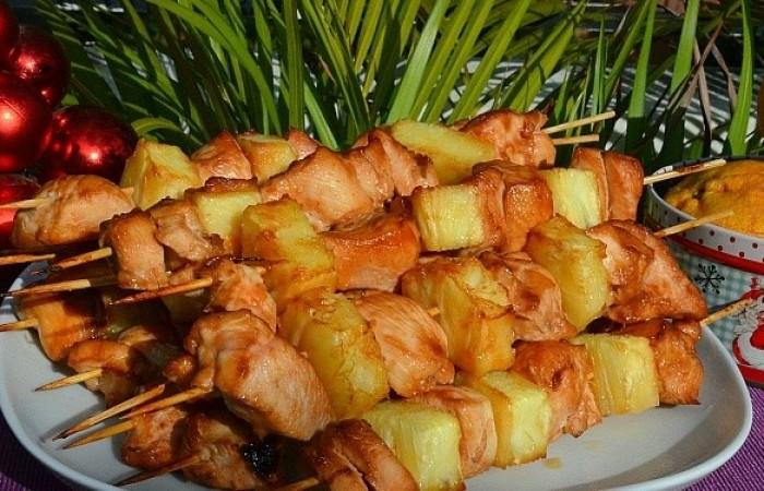 шашлык из курицы и ананасов в домашних условиях