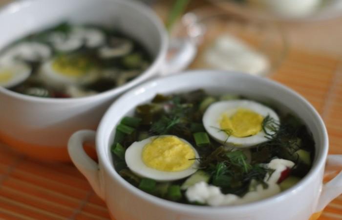 Суп из консервированного щавеля с яйцом с фото