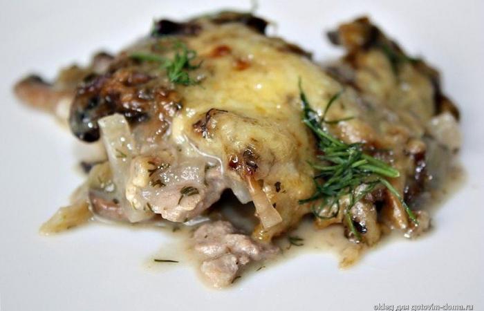 Мясо с шампиньонами и сыром в духовке рецепт пошагово